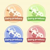 Logo Set of labels for dairy products. Editable labels for packages. Dairy products. Yogurt, kefir, milk, fermented baked milk — Stock Vector