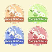 Logo Set of labels for dairy products. Editable labels for packages. Dairy products. Yogurt, kefir, milk, fermented baked milk — 图库矢量图片
