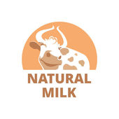 Logo with a smiling cow on a brown background — Stock Vector