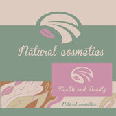Vector logo natural cosmetics. Banner and badge. The color background pattern with vegetative elements — Stock Vector