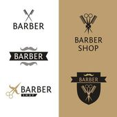Vector heraldic logo for a hairdressing salon. Set logo for barber shop. — Stock Vector