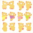 Vector illustration of teddy bear in different pose. Set. — Stock Vector #59685403