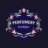 Vector logo with a vignette of flowers. Aromatherapy, perfume boutique. Flower essences, essential oils. — Stock Vector