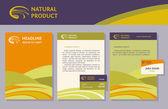 The set of proprietary elements, logo, folder, letterhead, business card, badge — Vector de stock