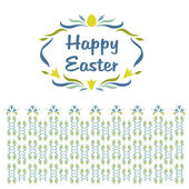 Logo, vignette with the words Happy Easter. Floral pattern shades of blue and yellow — Stock Vector