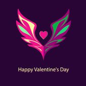 Logo, emblem with wings and heart. Shades of pink and purple — Vector de stock