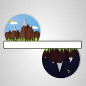 Day and night mountains — Stock Vector