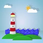 Maritime lighthouse. Night — Vector de stock