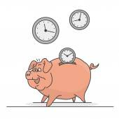 Time savings made with pork and watches — Stock Vector