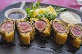 Tuna in puff pastry — Stock Photo