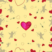 Seamless pattern with cupids and hearts. Vector set 1 — Stock Vector