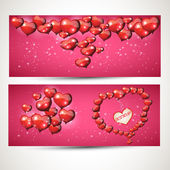 Vertical and horizontal Flyers with hearts. set 4 — Vettoriale Stock