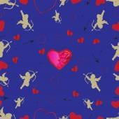 Seamless pattern with cupids and hearts. Vector set 1 — ストックベクタ