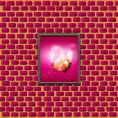 Paintings with glowing hearts on a brick wall. vector — Stock Vector