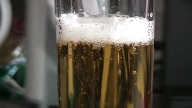 Pouring light beer into glass. — Stock Video