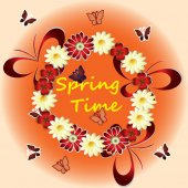 Spring time with flowers, butterflies — Stockvector