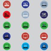 Set of icons with computers in flat design — Stock Vector