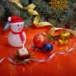 Christmas toys and snowman — Stock Photo #61123421