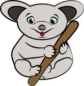 Funny koala on a branch — Vettoriale Stock