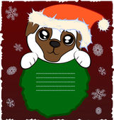Christmas pug — Stockvektor