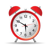 Red clock with christmas vector — Vetorial Stock