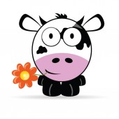 Cow head with a flower vector illustration — Vetorial Stock