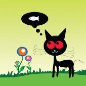 Poisson dreem chat sur l'alpage vector illustration — Vecteur