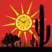 Clock in the sun and cactus vector illustration — Vecteur