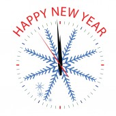 Clock with snowflake for new year — Stockvector