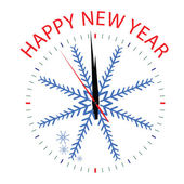 Clock with snowflake for new year — Vecteur