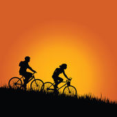 Cyclists in nature color vector illustration — Vetorial Stock