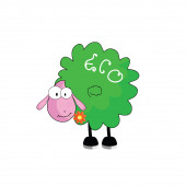 Eco sheep with flower vector illustration — Stockvektor