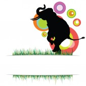Elephant in nature vector illustration on a color — Stock Vector