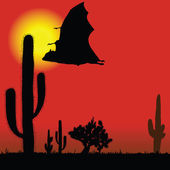Flying bat black silhouette and cactus illustration — Stock Vector
