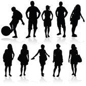 Girl and man vector silhouette illustration — Vetorial Stock