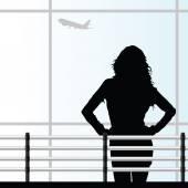 Girl on the airport vector illustration — Stockvektor