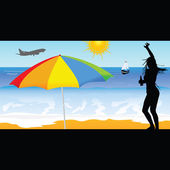 Girl on the beach vector illustration — Stockvektor