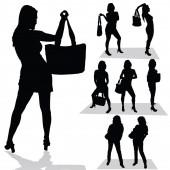 Girl with bag black silhouette — Stockvektor