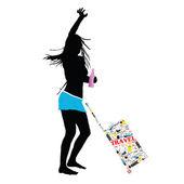 Girl with travel bag vector illustration — Stockvektor