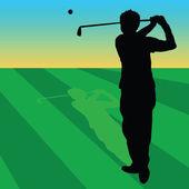 Golfer black on green grass illustration — Stockvektor