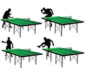 Ping pong players with green table — Stock Vector