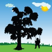 Baby on a swing with tree silhouette — Stock vektor