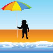 Baby with umbrella on the beach vector — Stock vektor