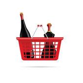 Basket with bottle of wine color vector — Stock vektor