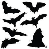 Bat black silhouette illustration — Stock Vector