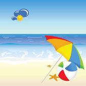 Beach beauty cartoon art vector illustration — Stock vektor