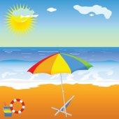 Beach beauty with umbrella vector illustration — Stock vektor