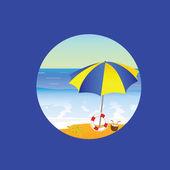 Beach paradise cartoon vector illustration on a blue — Stock vektor