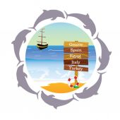 Beach paradise with dolphin vector illustration — Stock vektor