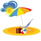 Beach paradise with beach stuff cartoon vector illustration — Stock vektor